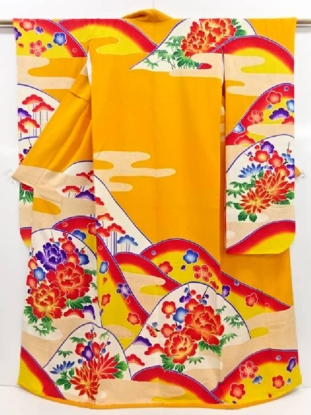 縮緬地遠山に菊牡丹模様刺繍花嫁衣裳掛下(比翼付き)【リサイクル】【中古】