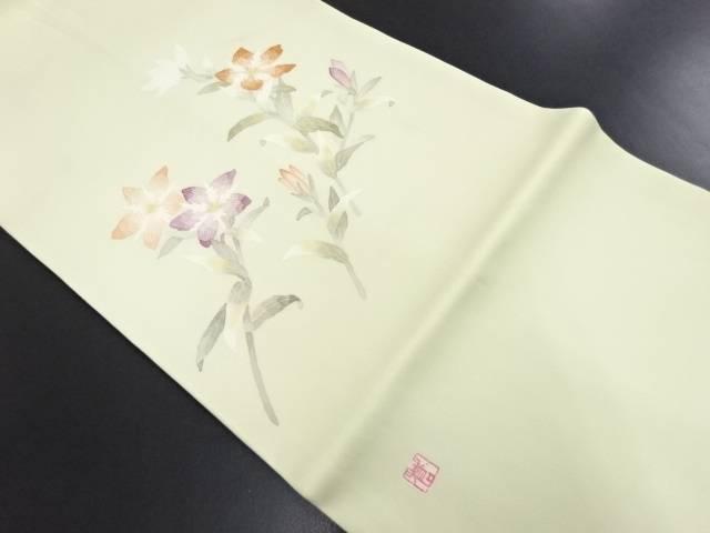 作家物 塩瀬手描き花模様名古屋帯【リサイクル】【中古】