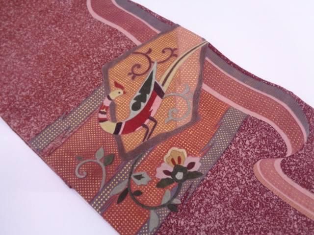汕頭相良刺繍鳥に花唐草模様袋帯【リサイクル】【中古】