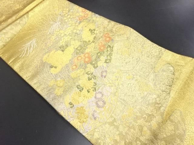 本金秋草模様織り出し袋帯【リサイクル】【中古】