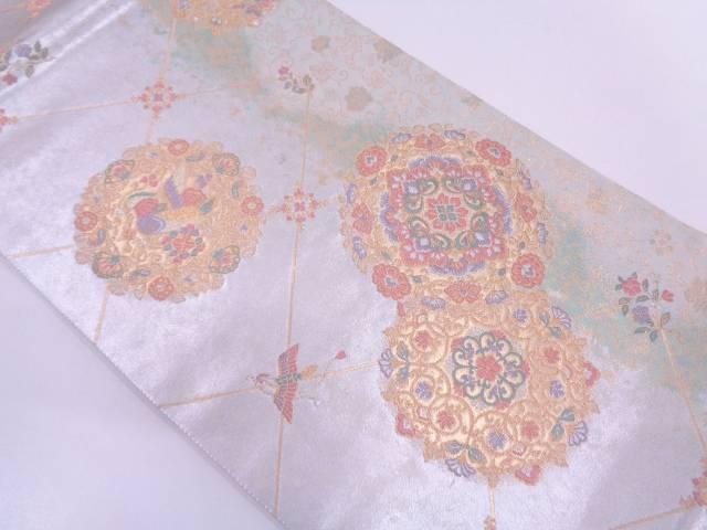 引箔正倉院斜格子華文織出し袋帯【リサイクル】【中古】