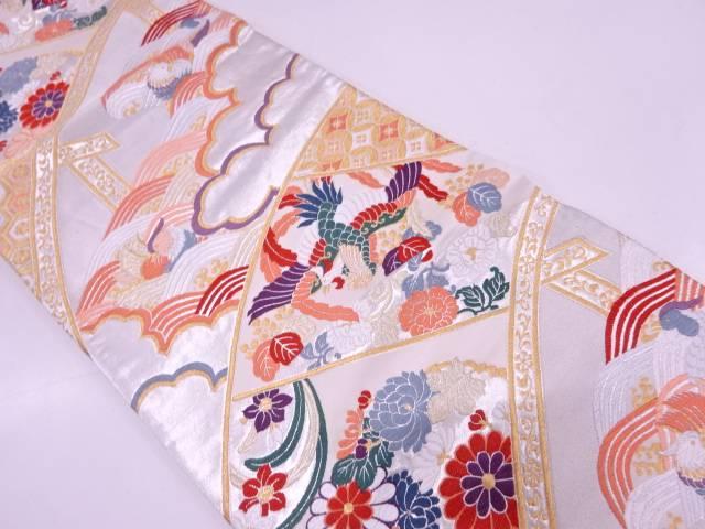 橋に花鳥模様織出し袋帯【リサイクル】【中古】