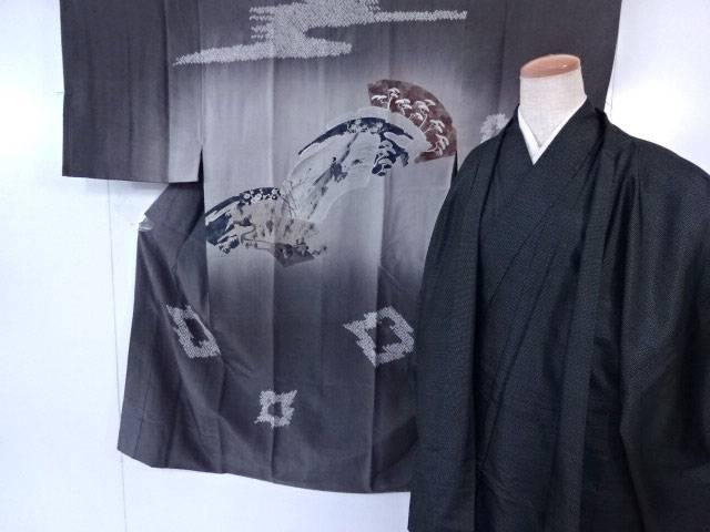 男物紬 羽織・長襦袢 3点セット 大島紬 亀甲絣文様 着物【リサイクル】【中古】