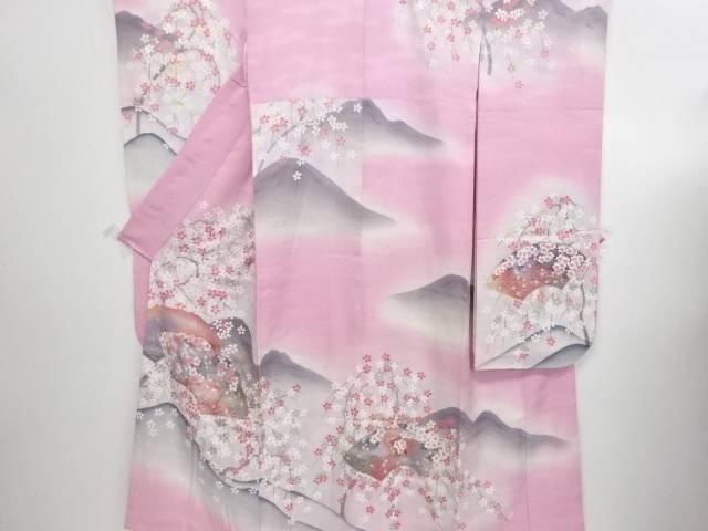 竹久夢二 枝垂れ桜に糸巻き・遠山模様振袖(重ね衿付き)【リサイクル】【中古】