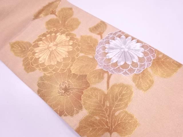 金彩菊模様刺繍袋帯【リサイクル】【中古】