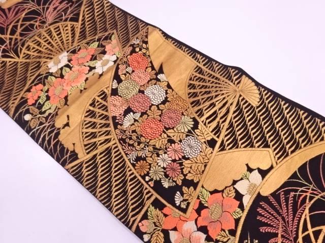 扇に草花・すすき模様織出し袋帯【リサイクル】【中古】