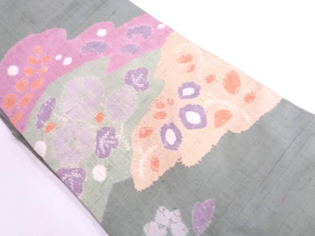 手織り紬絞り草花模様名古屋帯【リサイクル】【中古】