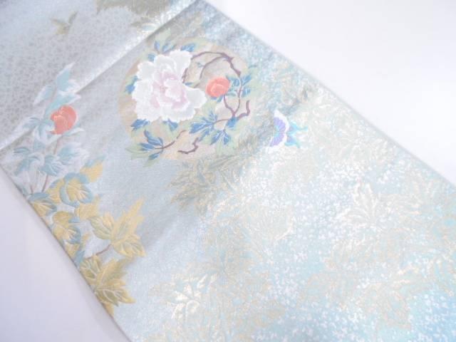 満月に牡丹・蝶模様織出し袋帯【リサイクル】【中古】
