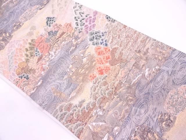 孔雀風景模様織出し袋帯【リサイクル】【中古】