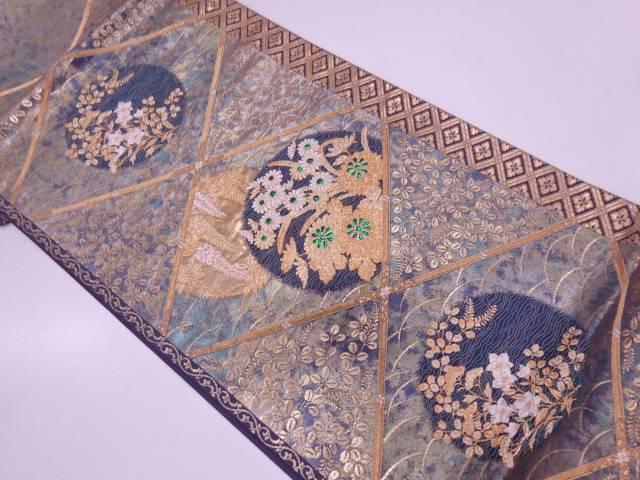 引き箔襷に藤・草花模様織出し袋帯【リサイクル】【中古】