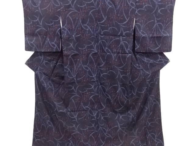 草花模様織り出し手織り真綿小千谷紬着物【リサイクル】【中古】