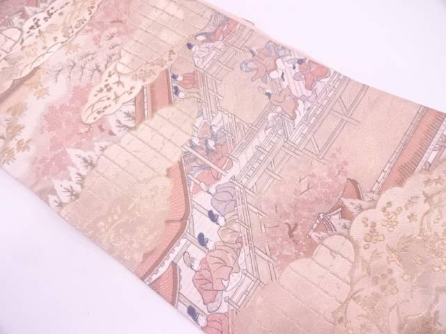 服部織物製 屋敷に時代人物模様織出し袋帯【リサイクル】【中古】