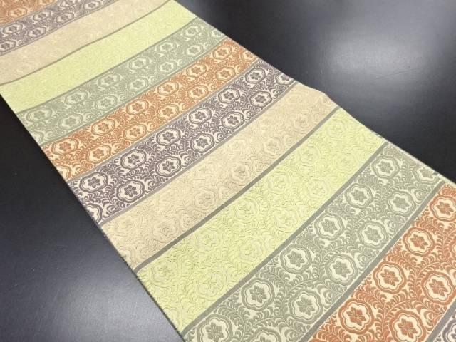 未使用品 唐織横段に華紋唐草模様織り出し袋帯【リサイクル】【中古】