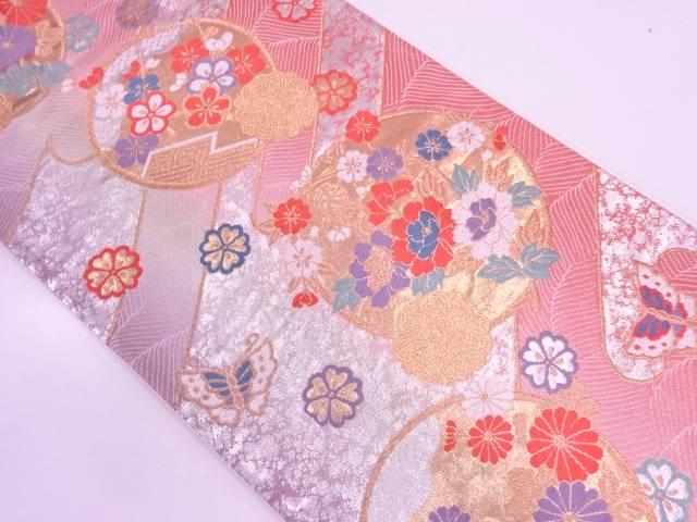丸紋に草花・蝶模様織出し袋帯【リサイクル】【中古】