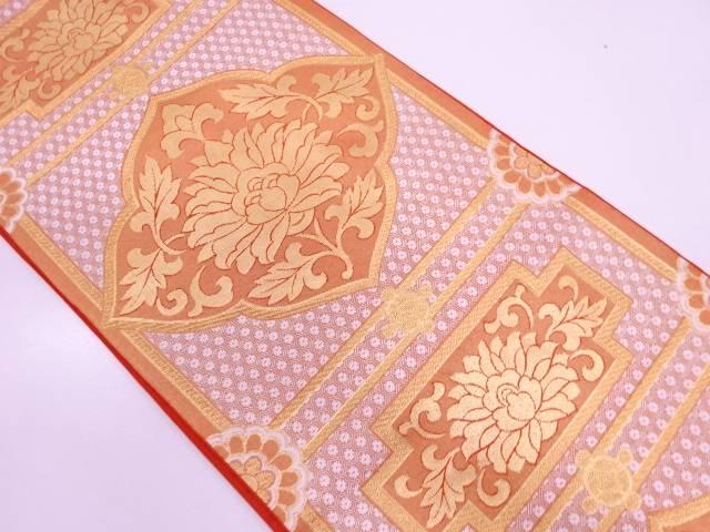 川島織物製 花唐草模様織出し袋帯【リサイクル】【中古】