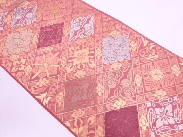 川島織物製 斜め格子に花鳥模様織出し袋帯【リサイクル】【中古】
