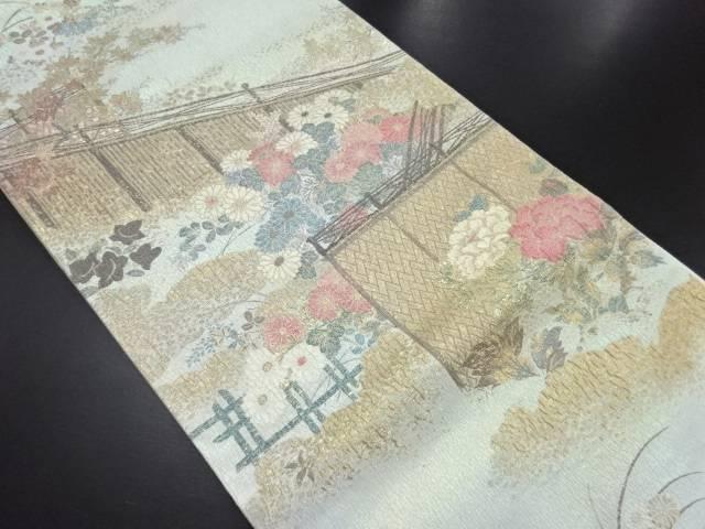 引箔垣根に菊牡丹模様織り出し袋帯【リサイクル】【中古】