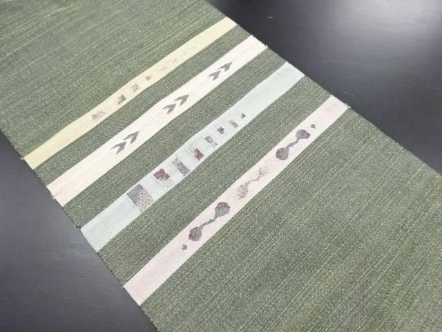 金通し横段模様織り出し名古屋帯【リサイクル】【中古】