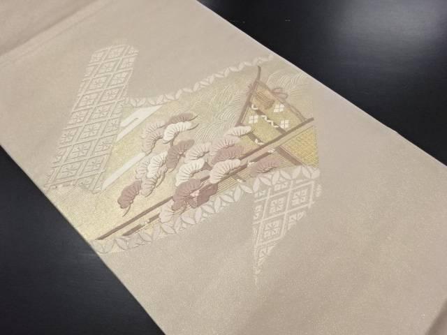 金糸巻き物に松・古典柄刺繍袋帯【リサイクル】【中古】