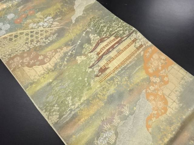 服部織物製 こはく錦金閣寺風景模様織り出し袋帯【リサイクル】【中古】