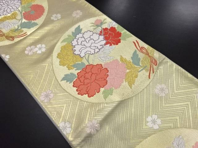 本金丸紋に牡丹菊模様織り出し袋帯【リサイクル】【中古】