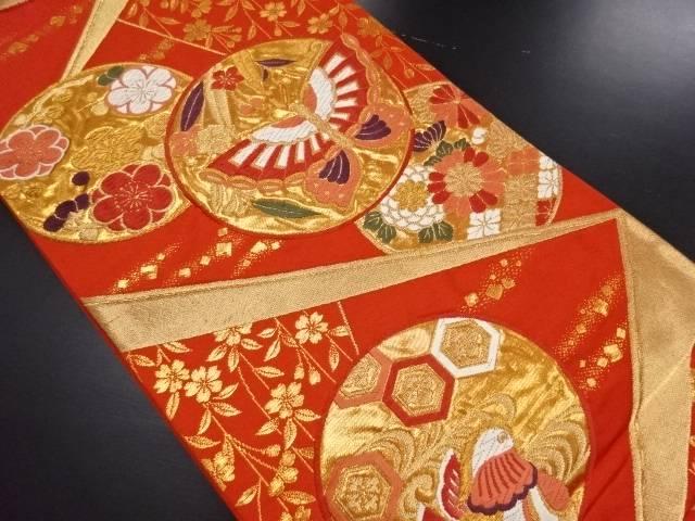 金糸丸紋に鴛鴦蝶模様織り出し袋帯【リサイクル】【中古】