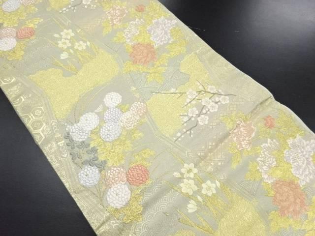 金糸牡丹菊模様織り出し袋帯【リサイクル】【中古】