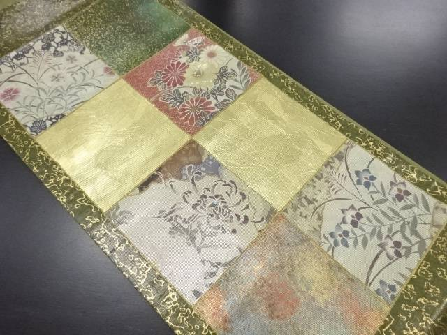 引箔螺鈿格子に菊・撫子模様織り出し袋帯【リサイクル】【中古】
