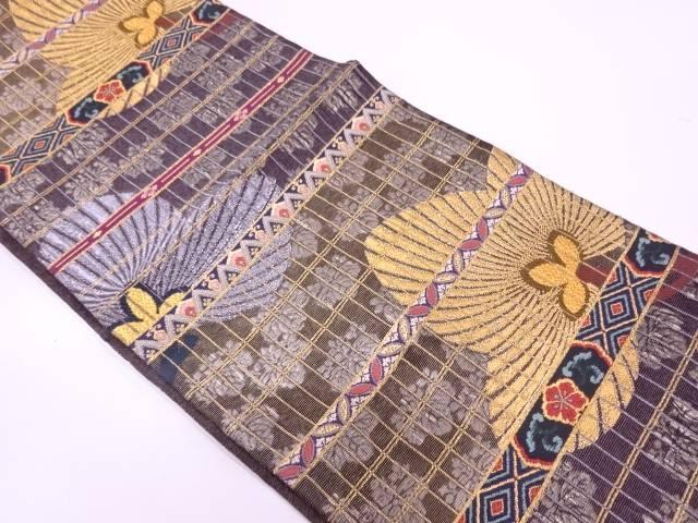横段に若松・桐模様織出し袋帯【リサイクル】【中古】