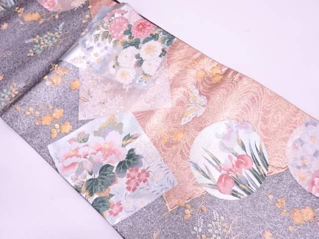 色紙に蝶・草花模様織出し袋帯【リサイクル】【中古】