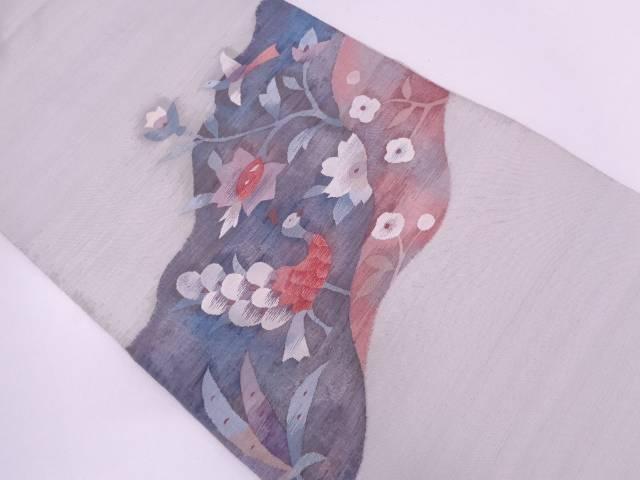 すくい織花鳥模様織出し袋帯【リサイクル】【中古】
