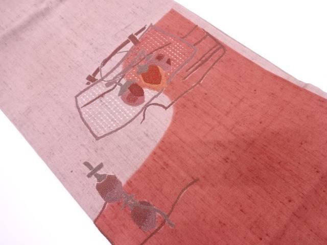 未使用品 手織り真綿紬汕頭相良刺繍干し柿模様名古屋帯【リサイクル】【中古】