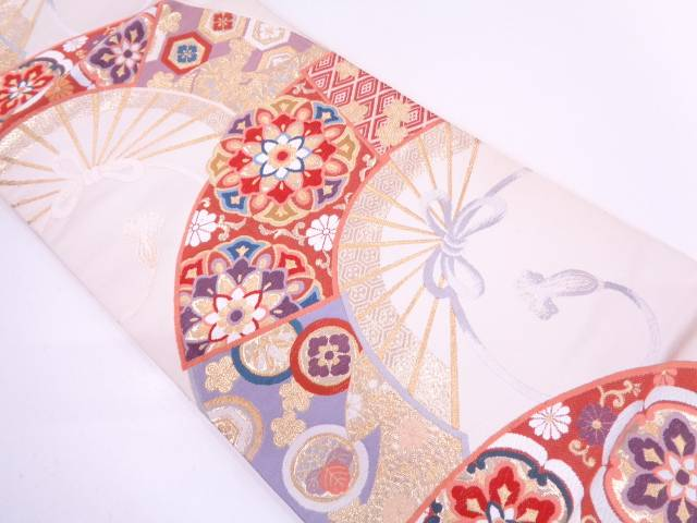 巧芸箔扇面に華紋模様織出し袋帯【リサイクル】【中古】