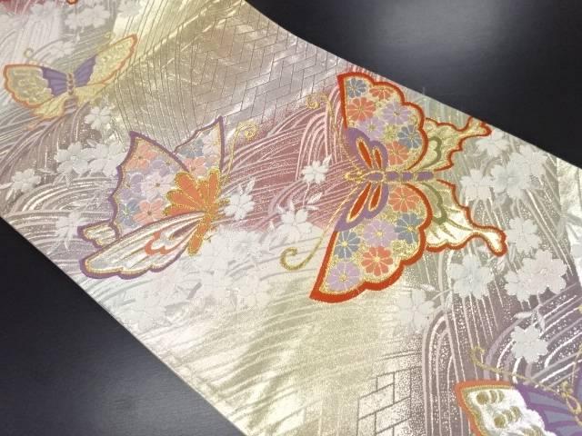 金銀糸波に桜・蝶模様織り出し袋帯【リサイクル】【中古】