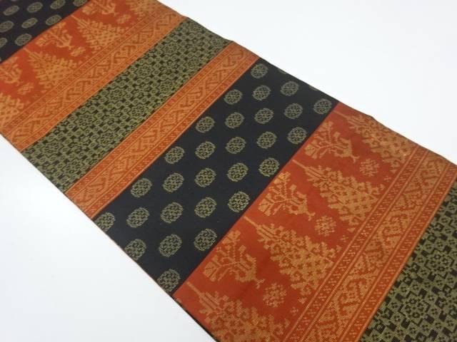 織悦製 横段に抽象模様織出し名古屋帯(松葉仕立て)【リサイクル】【中古】