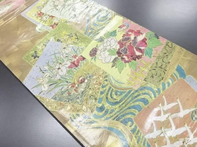 引箔螺鈿色紙に牡丹・鴛鴦模様織り出し袋帯【リサイクル】【中古】