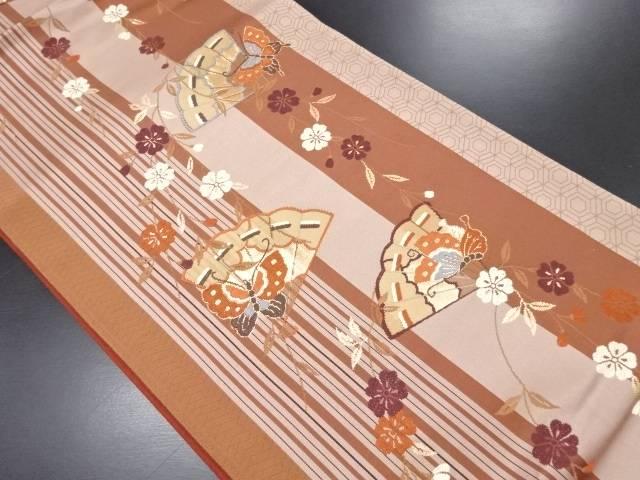 桧扇に蝶・枝垂れ桜模様織り出し袋帯(未仕立て)【リサイクル】【中古】
