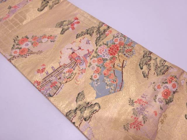 地紙に花車・几帳模様織出し袋帯【リサイクル】【中古】