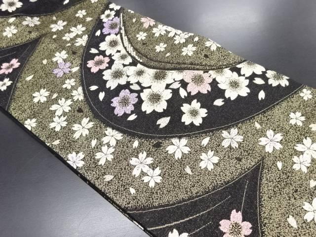 変わり流水に桜模様織り出し袋帯【リサイクル】【中古】
