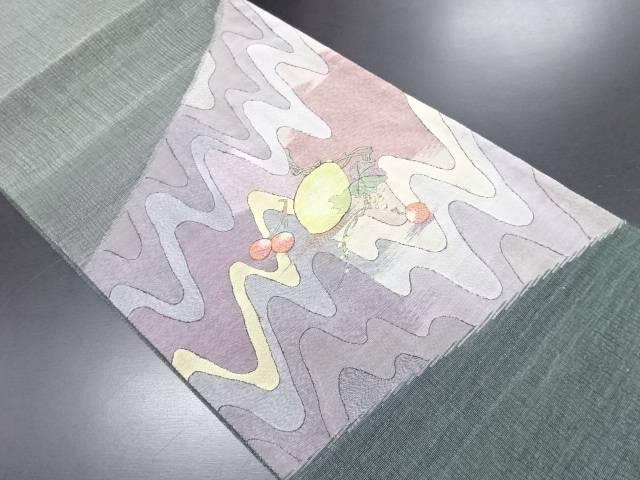 未使用品 紗明綴れレモンにさくらんぼ模様織り出し袋帯(未仕立て)【リサイクル】【中古】