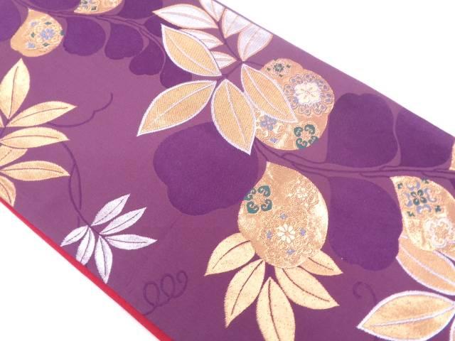 藤に華紋模様織出し袋帯【リサイクル】【中古】