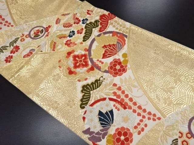 本金花・蝶模様織り出し袋帯【リサイクル】【中古】