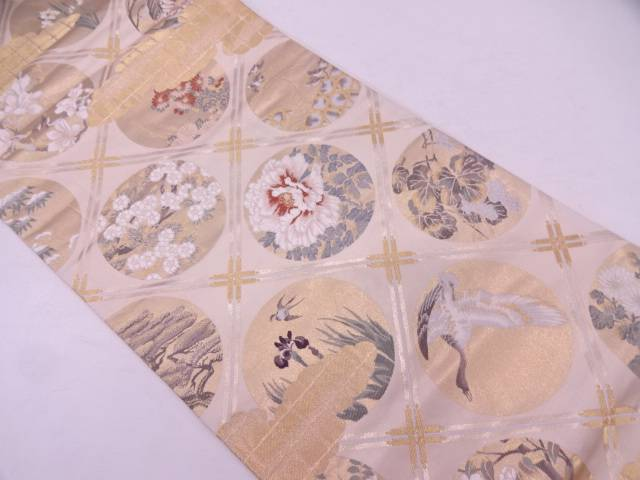 本金二重箔襷に花鳥模様織出し袋帯【リサイクル】【中古】