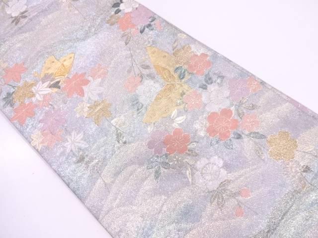 蝶に枝垂れ桜模様織出し袋帯【リサイクル】【中古】