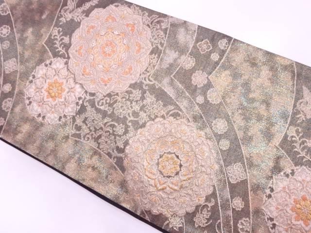 未使用品 とみや織物製 華紋に花唐草模様織出し袋帯【リサイクル】【中古】