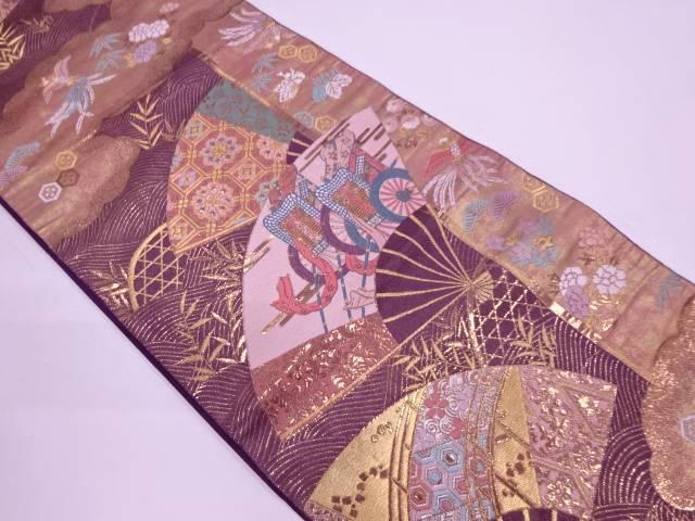 純金箔扇に御所車・花鳥模様織出し袋帯【リサイクル】【中古】