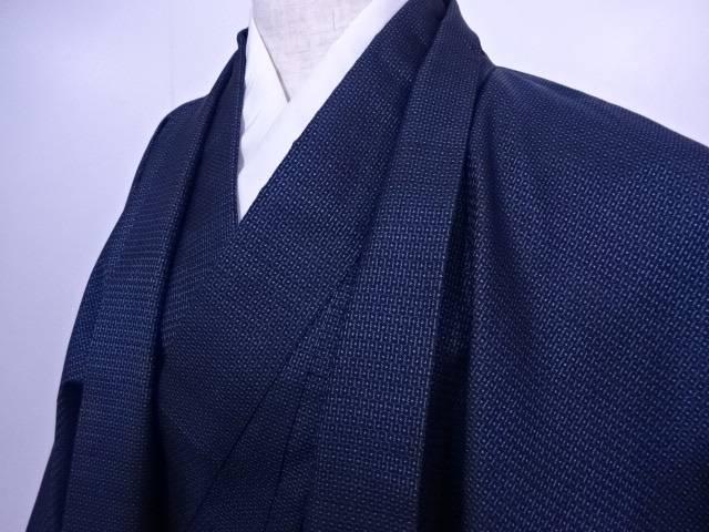男物紬 アンサンブル 十字亀甲文様 総柄 着物【リサイクル】【中古】
