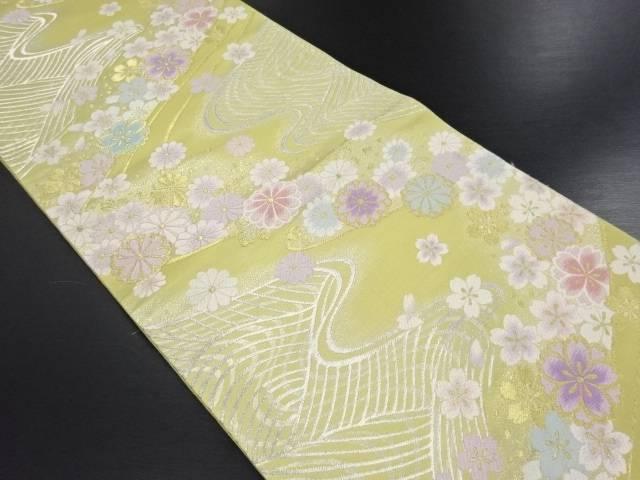 金銀糸流水に菊・桜模様織り出し袋帯【リサイクル】【中古】