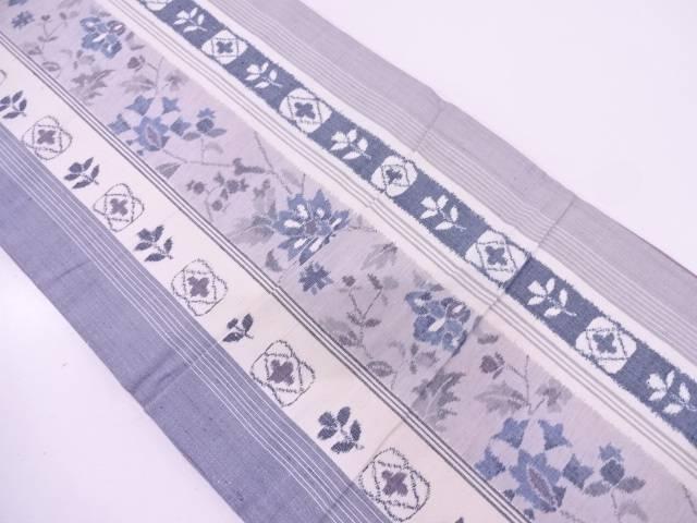 手織紬縞に草花模様織出し全通袋帯【リサイクル】【中古】