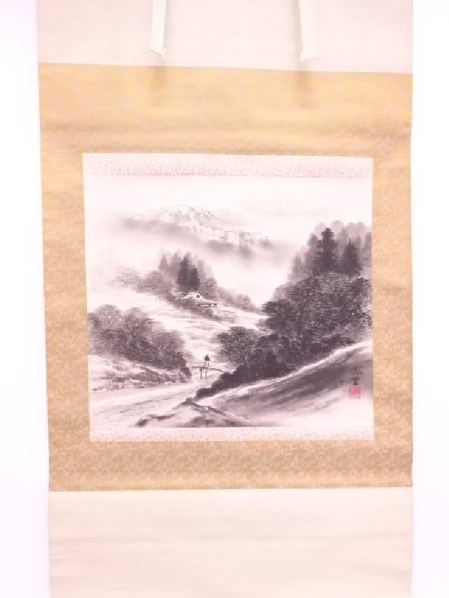 日本画 小林鳳堂筆 水墨山水 肉筆絹本掛軸(共箱)